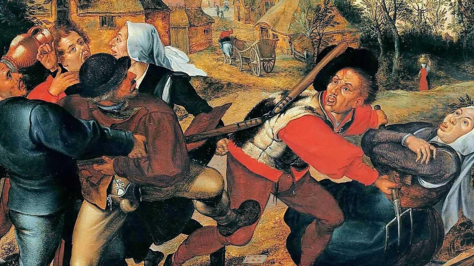 Ян Брейгель Старший. Драка крестьян (фрагмент). 1612