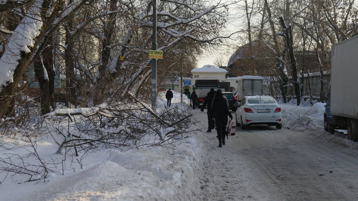 Москва. 2-я ул. Энтузиастов. Тротуар завален ветками и снегом