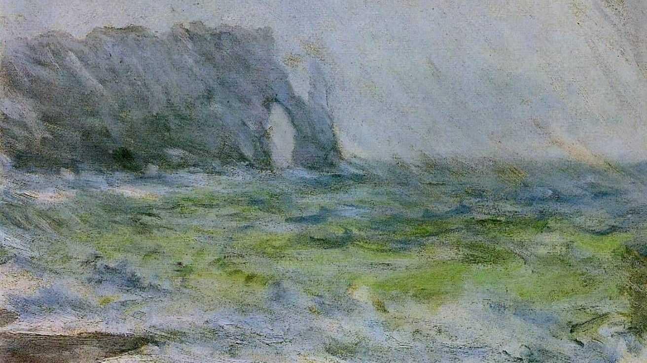 Клод Моне. Маннпорт, Этрета. Дождь. (фрагмент) 1886
