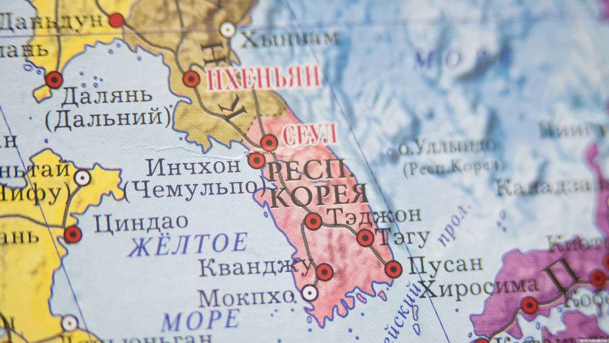 Пхеньян и Сеул на карте мира