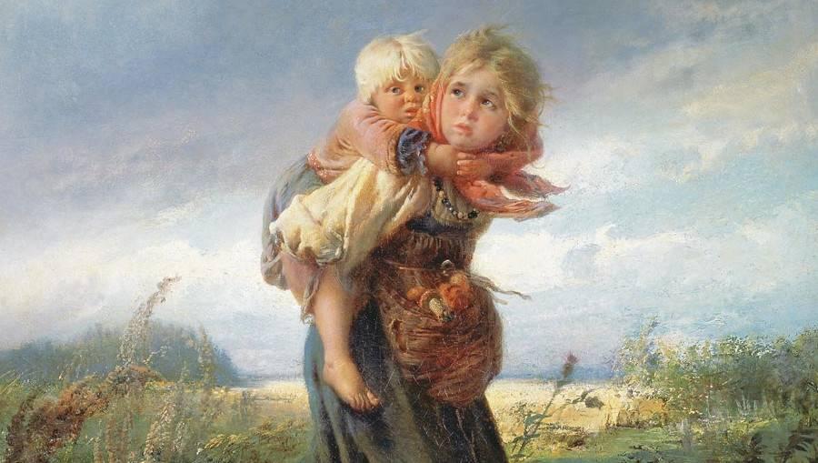 Маковский Константин. Дети, бегущие от грозы (фрагмент). 1872