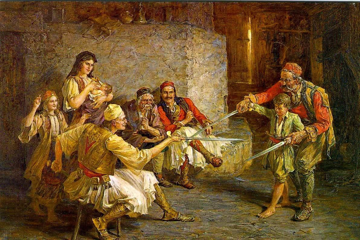 Павле Йованович. Урок фехтования.1884.