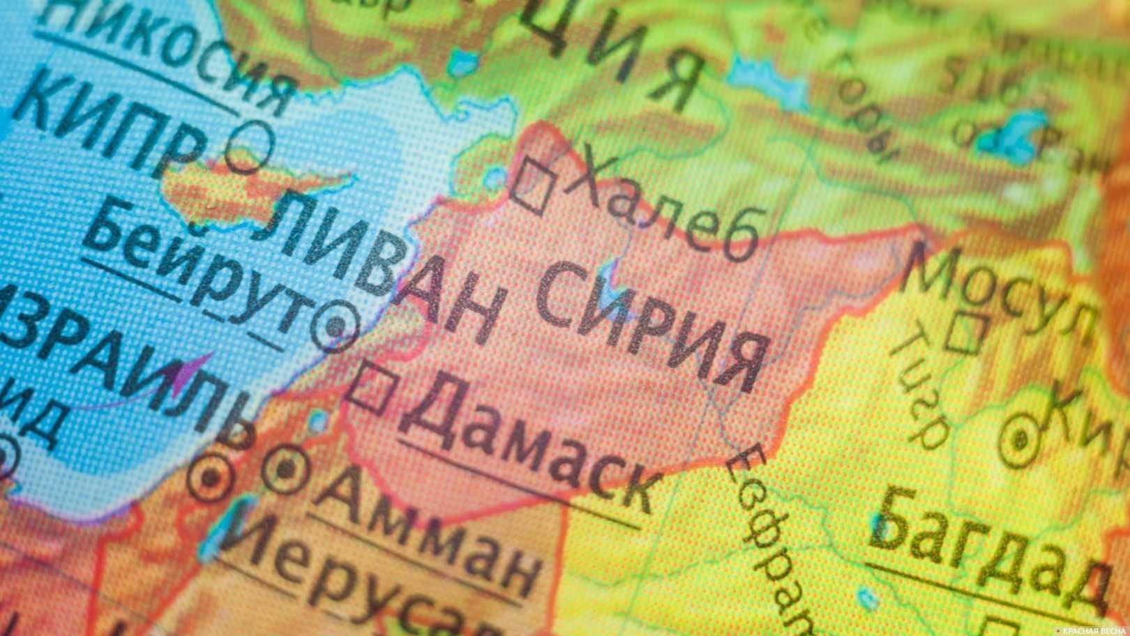 Израиль и Сирия на карте мира