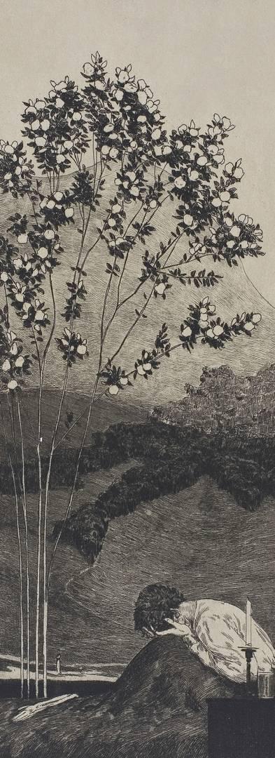 Макс Клингер. Тоска. Офорт № 3 из серии «Парафразы к найденной перчатке». 1881