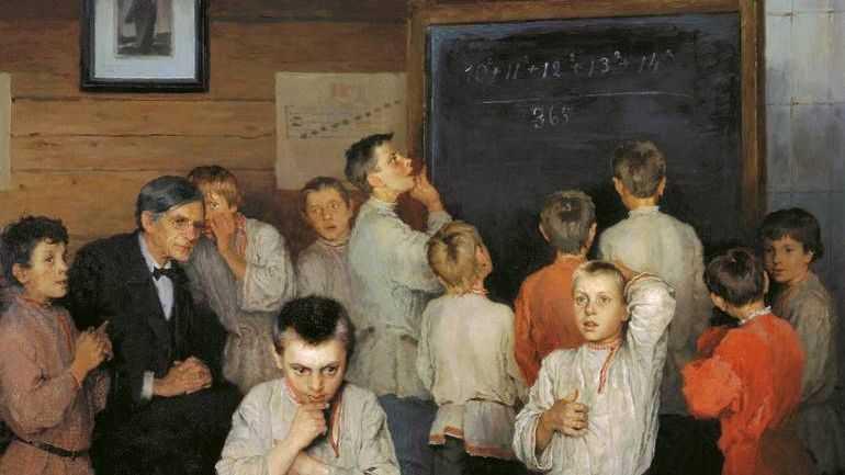 Богданов-Бельский Николай. Устный счет. В народной школе С.А.Рачинского. 1895.