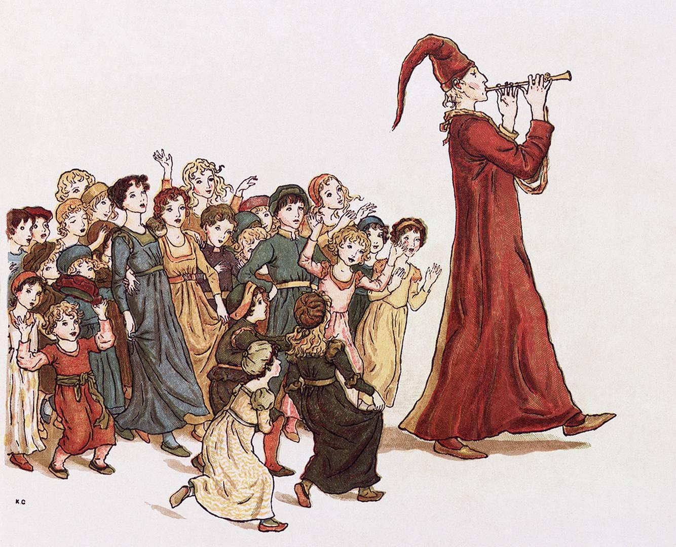 Кейт Гринуэй. Гамельнский крысолов уводит детей из Гамельна. 1910 год