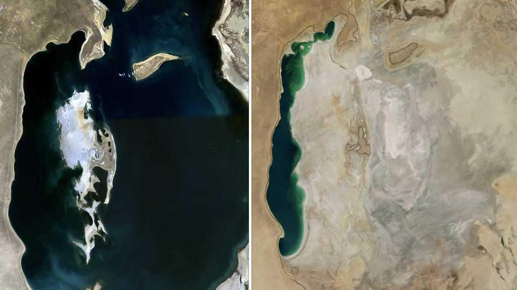 Сравнение Аральского моря в 1989 году (слева) и 2014 году (справа)