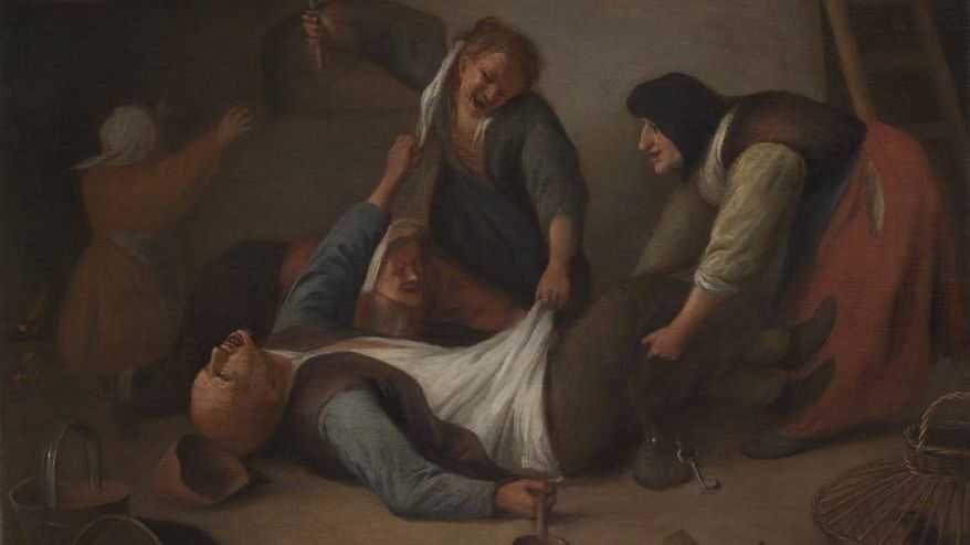 Ян Стен Драка крестьян. Женщины, волочащие мужчину. 1673