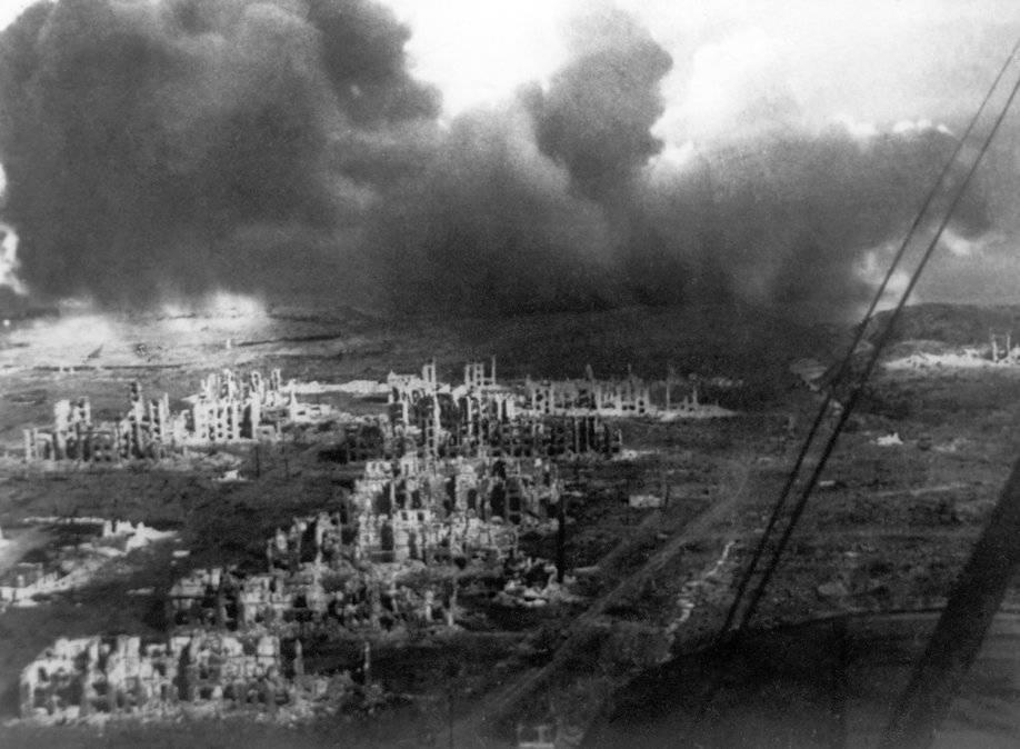 Панорама разрушенного Сталинграда осенью 1942 г.