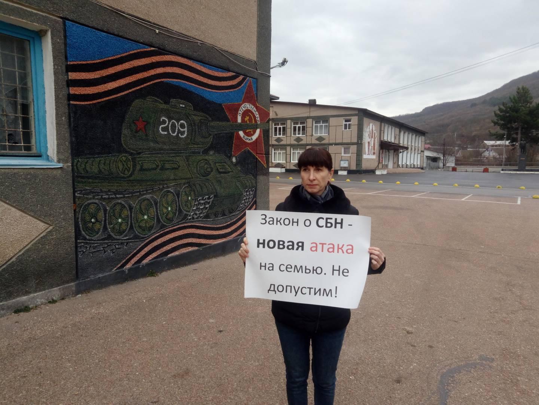Пикет в Крыму против закона о профилактике семейно-бытового насилия