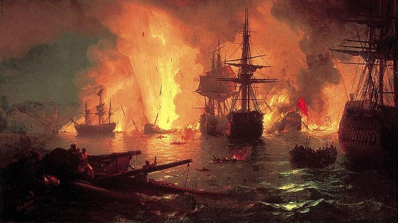 Иван Айвазовский. Чесменский бой. 1848
