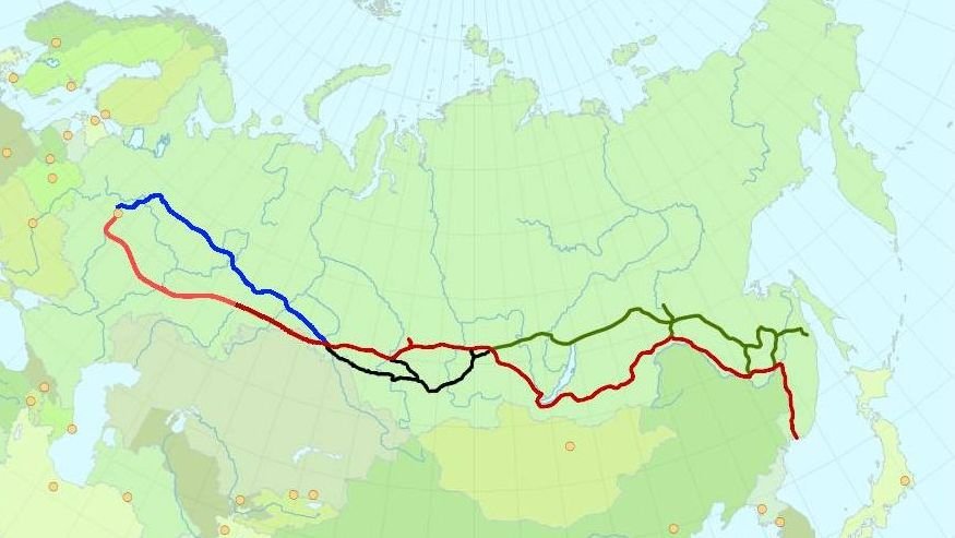 Карта Транссибирской и Байкало-Амурской железнодорожных магистралей