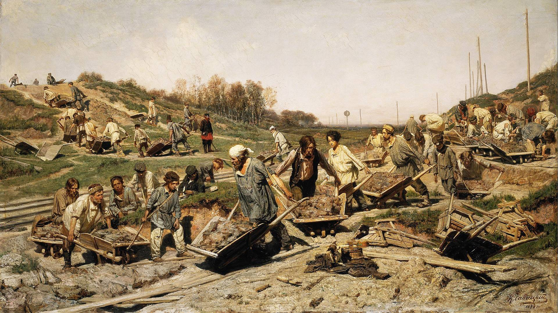 Константин Савицкий. Ремонтные работы на железной дороге. 1874