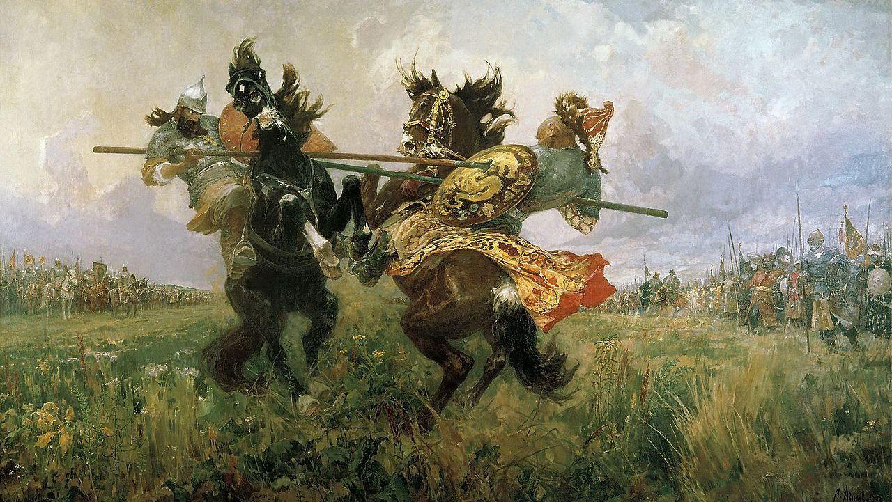 М.И. Авилов. Поединок Пересвета с Челубеем на Куликовом поле. 1943