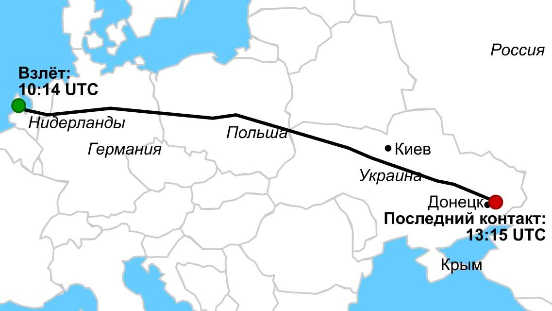 Карта рейса MH17