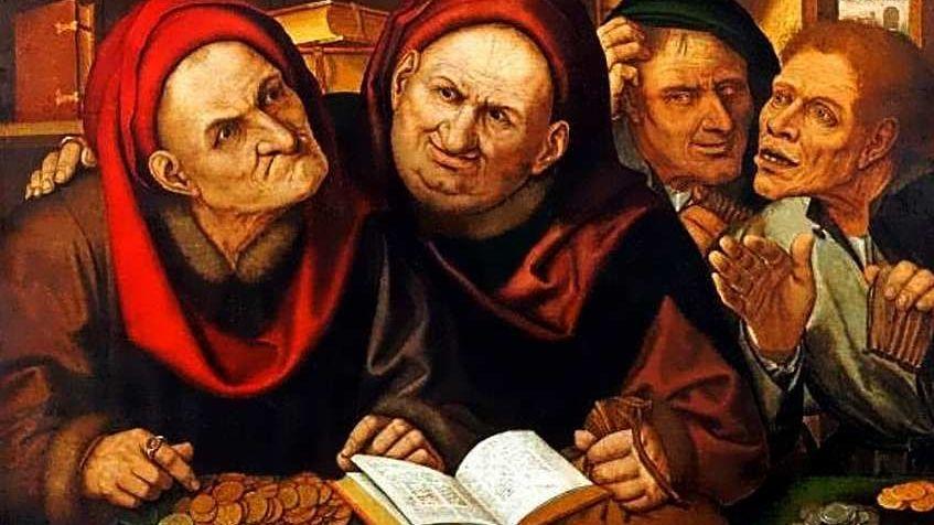 Квентин Массейс(Метсейс) (1466–1530) Менялы (Ростовщики). Конец XV-начало XVI века.