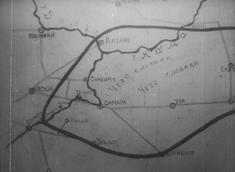Карта военных действий. Кадр из фильма «Годовщина революции»
