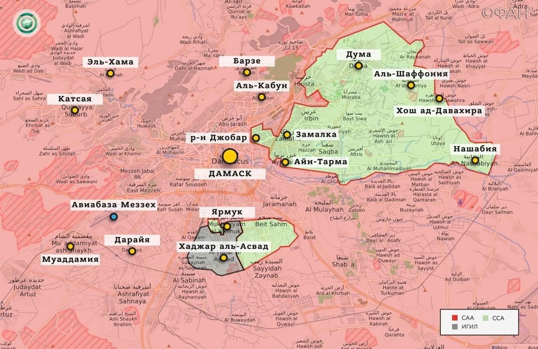 Карта окрестностей Дамаска до начала операции «Дамасская сталь» (приблизительно 14 февраля 2018 года)