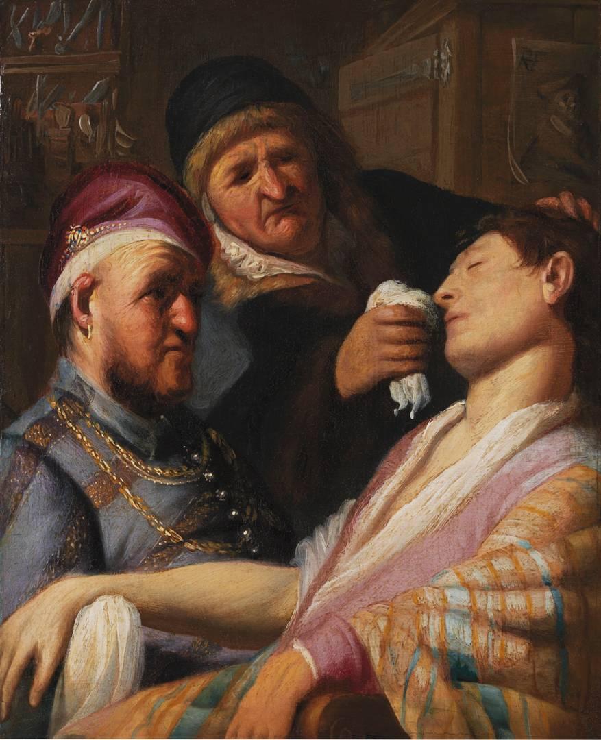 Рембрандт. Пациент, потерявший сознание (Аллегория обоняния). 1624-25