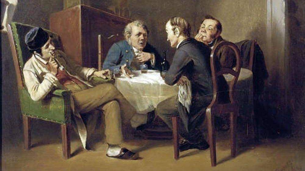 Василий Перов. Разговор за круглым столом (фрагмент). 1866