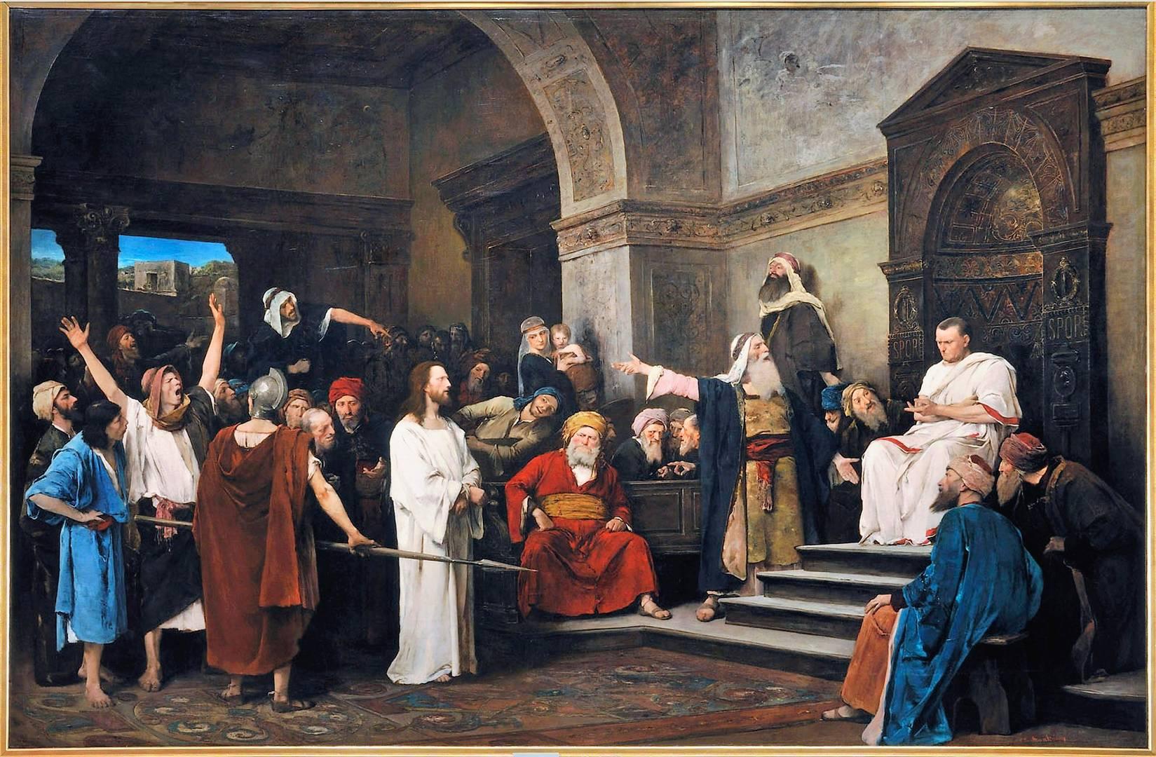 Следующий, суд, справедливость. Михей Мункачи. Христос перед Пилатом.1881