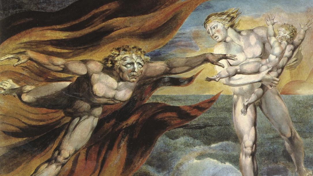 Уильям Блейк. Поединок ангелов Добра и Зла за душу младенца (фрагмент). Ок. 1793-1794.