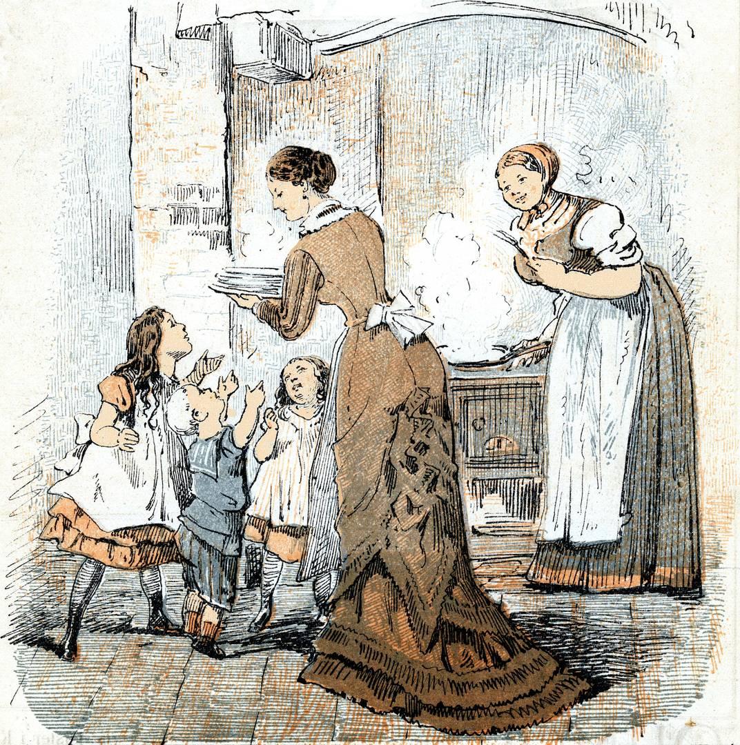 """Рисунок из датского журнала «Punch» от 9 августа 1877 г. На кухне. «Эмма: """"Мама, я хочу 4 блина!"""" Тайра: """"Мама! Мне нужно 5 блинов!"""" Самый мелкий карапуз: """"Мама! Мне надо на два блина больше, чем я смогу съесть!""""»"""