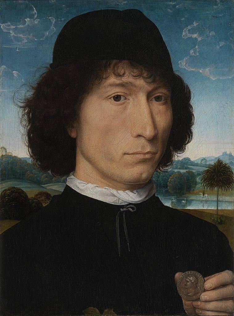 Ганс Мемлинг. Портрет мужчины с монетой императора Нерона. До 1480
