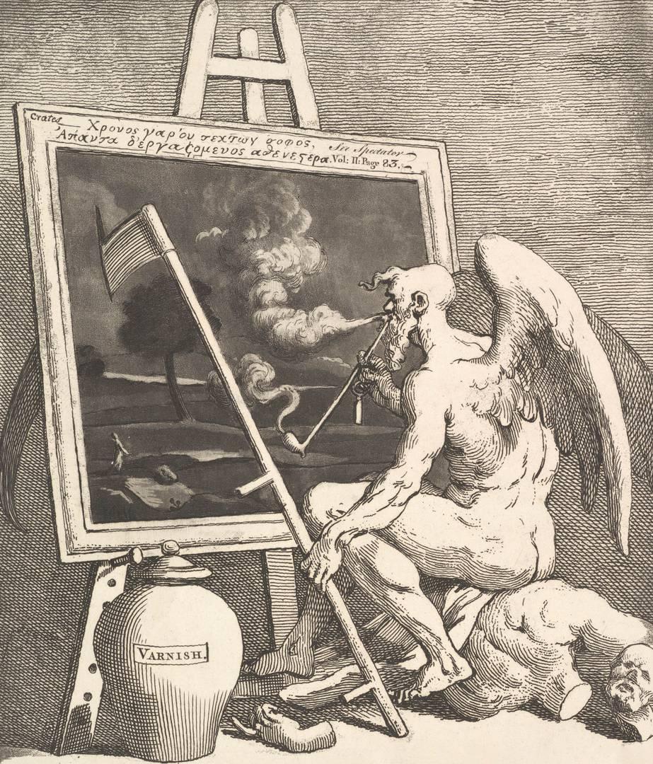 Уильям Хогарт. Время окуривает картину. Около 1761