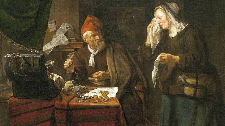 Габриэль Метсю. Ростовщик и плачущая женщина. Фрагмент. 1654