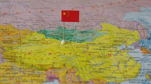 Китай с флагом на карте мира. 08.11.17