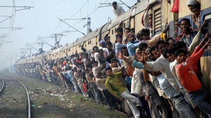 Пассажиры поезда. Индия