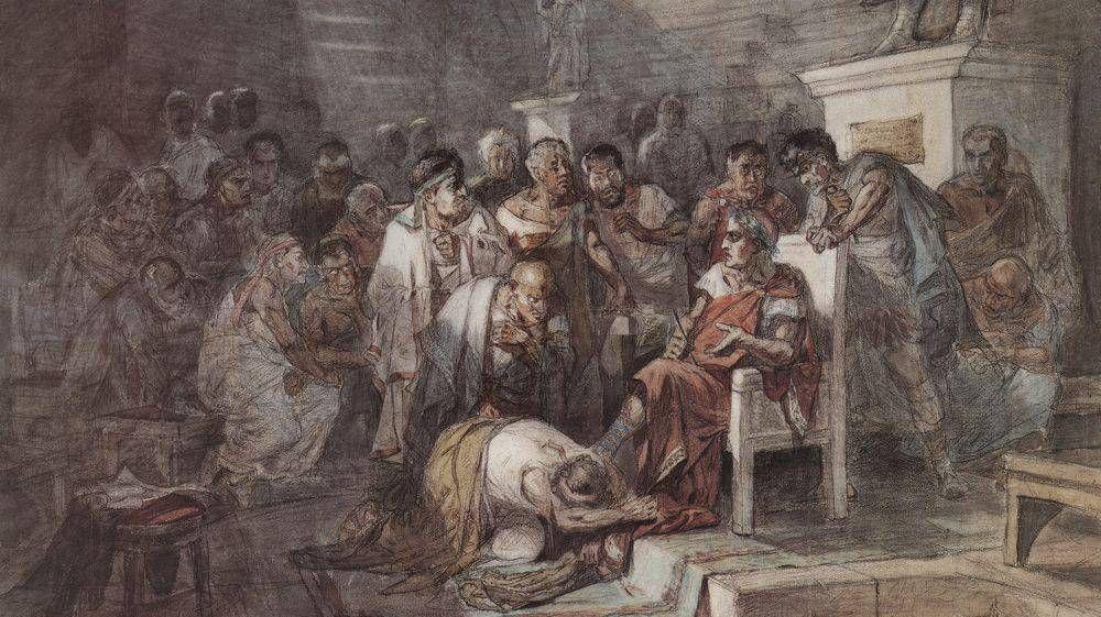 Василий  Суриков. Убийство Юлия Цезаря. 1875