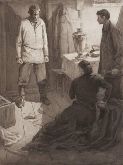 Алексей Кадушкин. Иллюстрация к роману Горького «Мать» (1956)