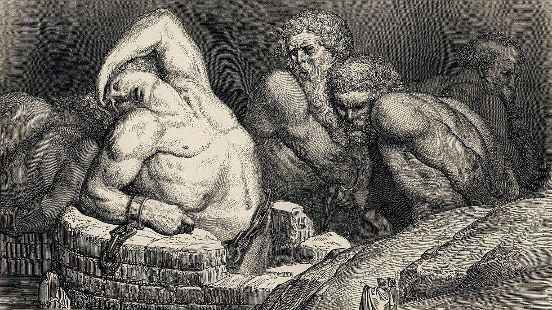 «Титаны в аду». Иллюстрация Гюстава Доре к «Божественной комедии» Данте. 1857 г.