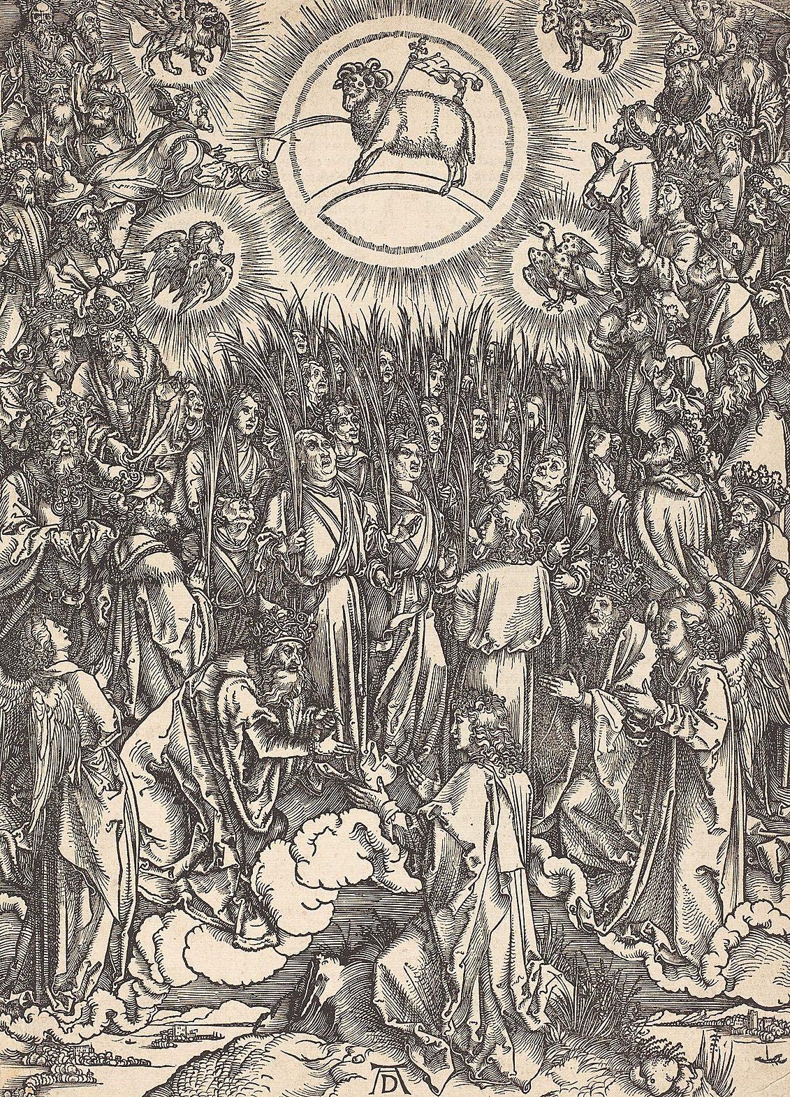 Альбрехт Дюрер. Поклонение богу и агнцу. 1498