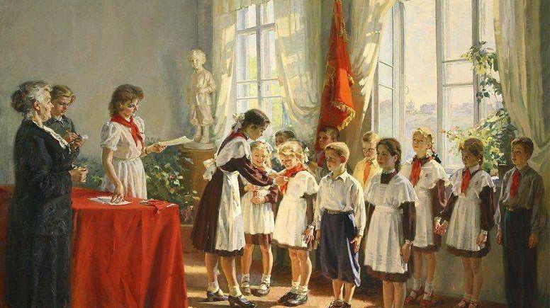 Иван Тихий.Прием в пионеры(фрагмент).1953