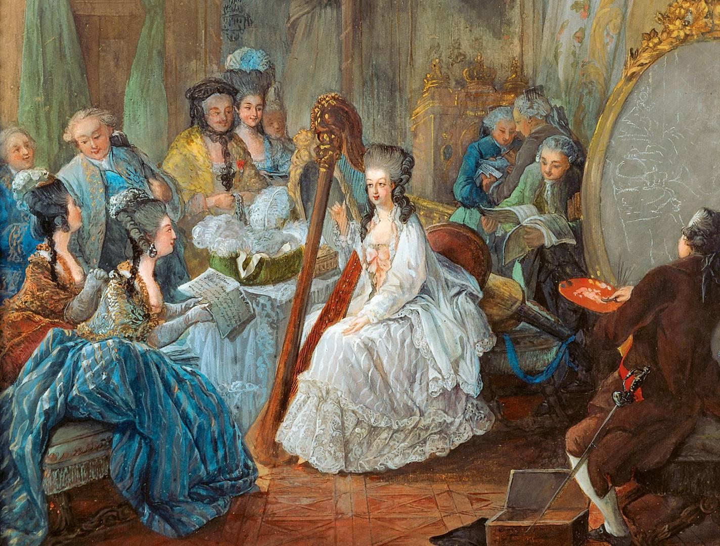 Жан-Батист-Андре Готье-Даготи. Мария-Антуанета дает  концерт  на арфе. 1775