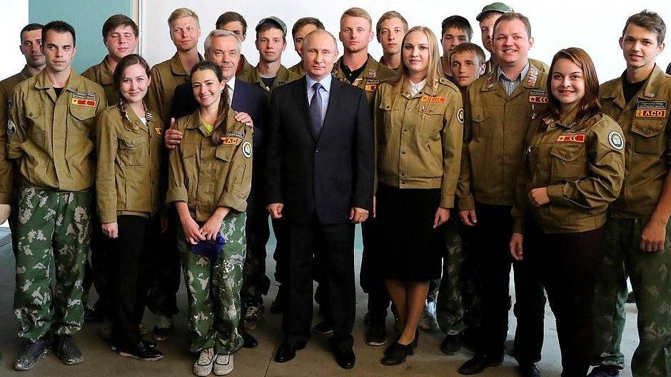Встреча Владимира Путина со студентами стройотряда