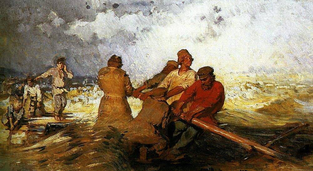 Илья Репин. Шторм на Волге. 1870