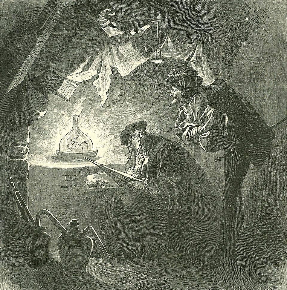 Мефистофель и Вагнер, Гомункул в колбе. Иллюстрация (фрагмент) ко второй части «Фауста». 1899г.