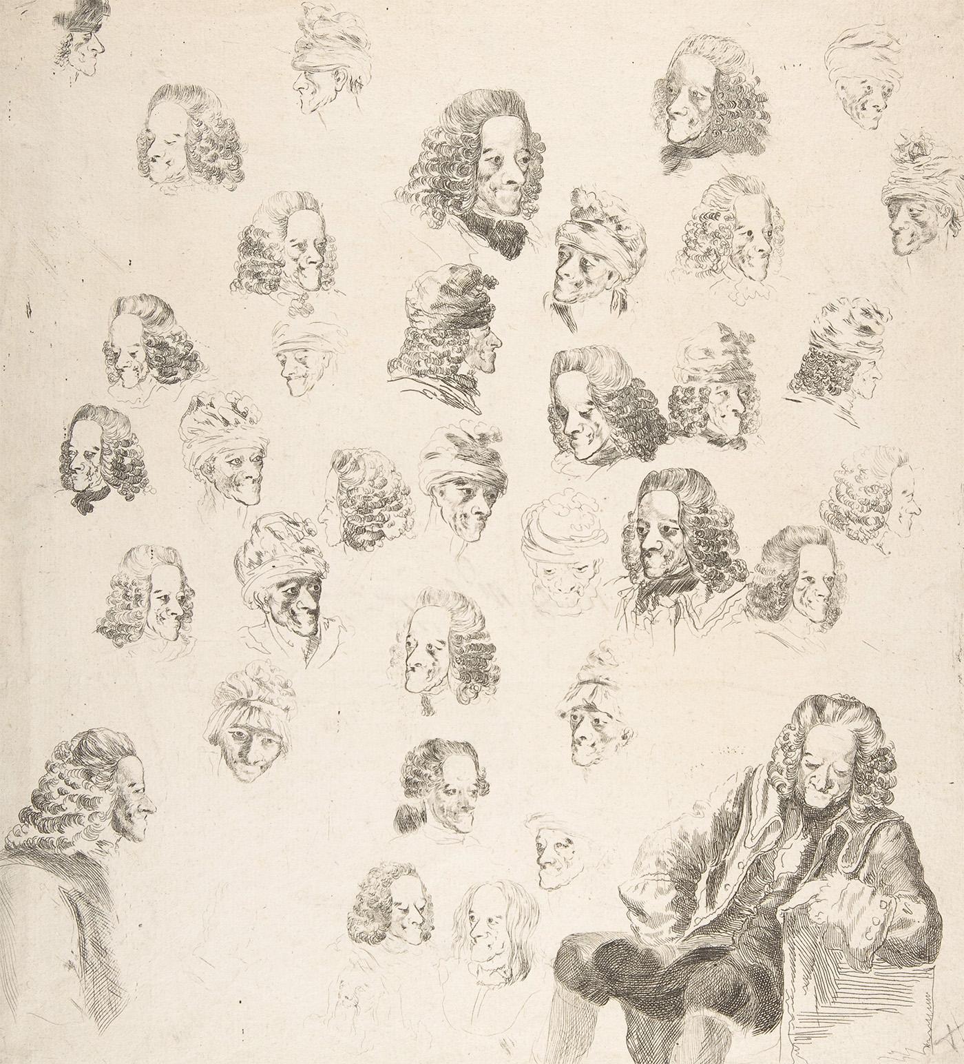 Барон Денон. Зарисовки Вольтера в возрасте 81 года. 1775 г.