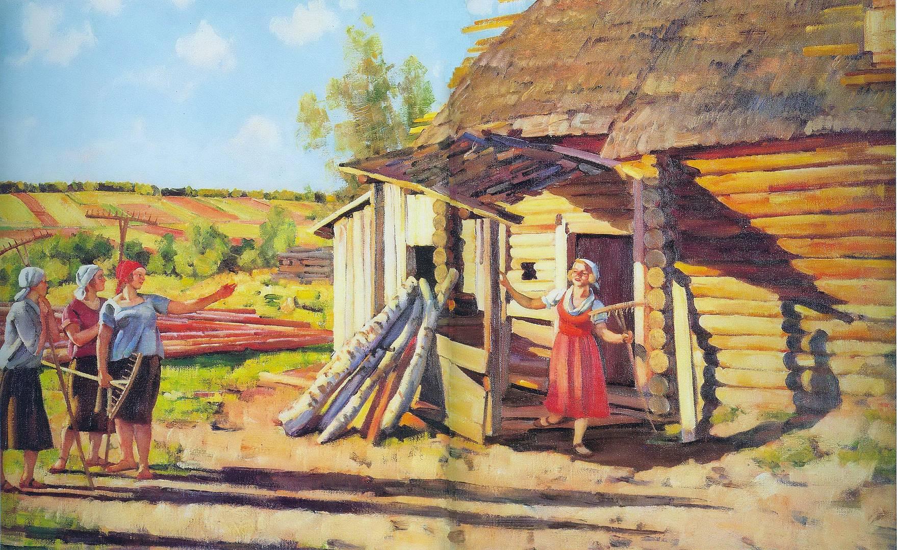Константин Юон. Первые колхозницы. В лучах солнца. Подолино. 1928
