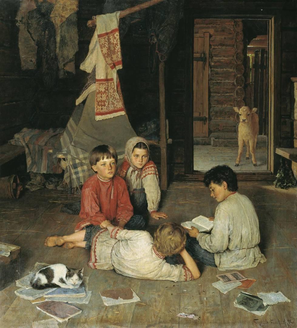 Николай Богданов-Бельский, картина «Новая сказка». 1891 г.