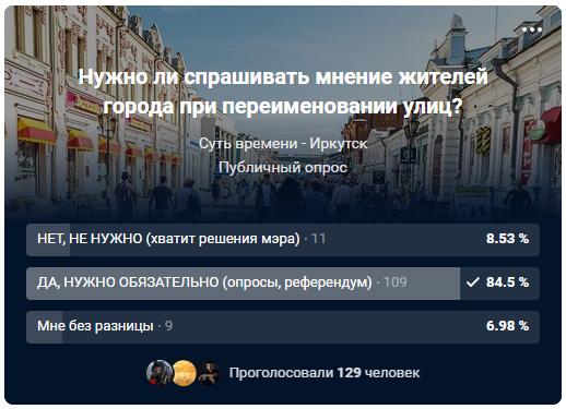 Опрос в группе «Суть времени - Иркутск» о способе принятия решений о переименованиях