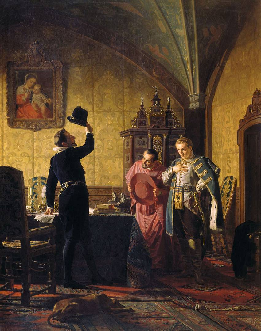 Николай Неврев. Присяга Лжедмитрия I польскому королю Сигизмунду III на введение в России католицизма. 1874