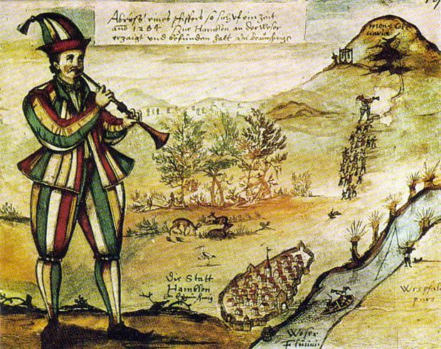 Гамельнский крыселов. Иллюстрация к описанию утраченного витража в книге гамельнского учителя латыни Самуэля Эриха