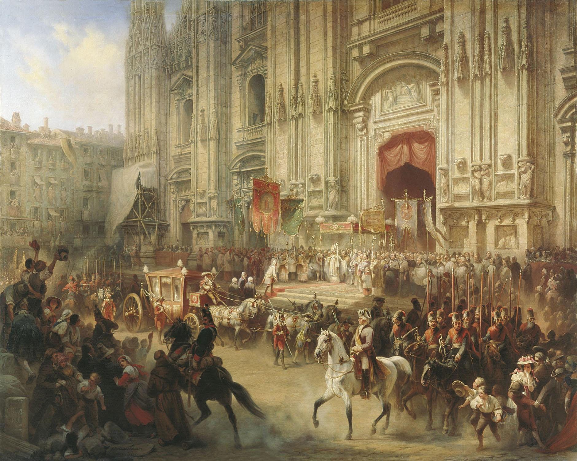 Адольф Шарлемань. Торжественная встреча А. В. Суворова в Милане 18 апреля 1799 года. 1858
