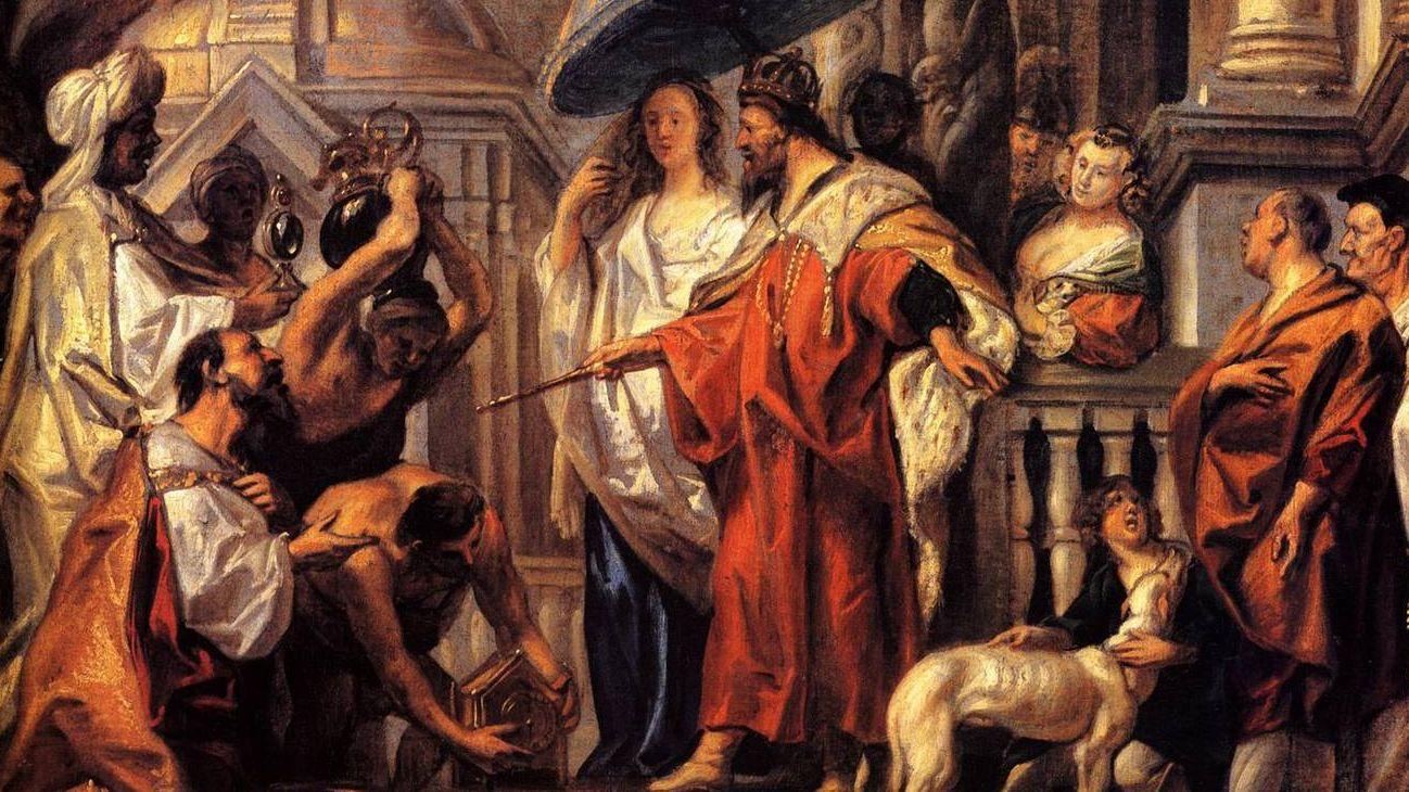 Якоб Йорданс. Дань халифа Харуна аль-Рашида Карлу Великому. Фрагмент. 1663