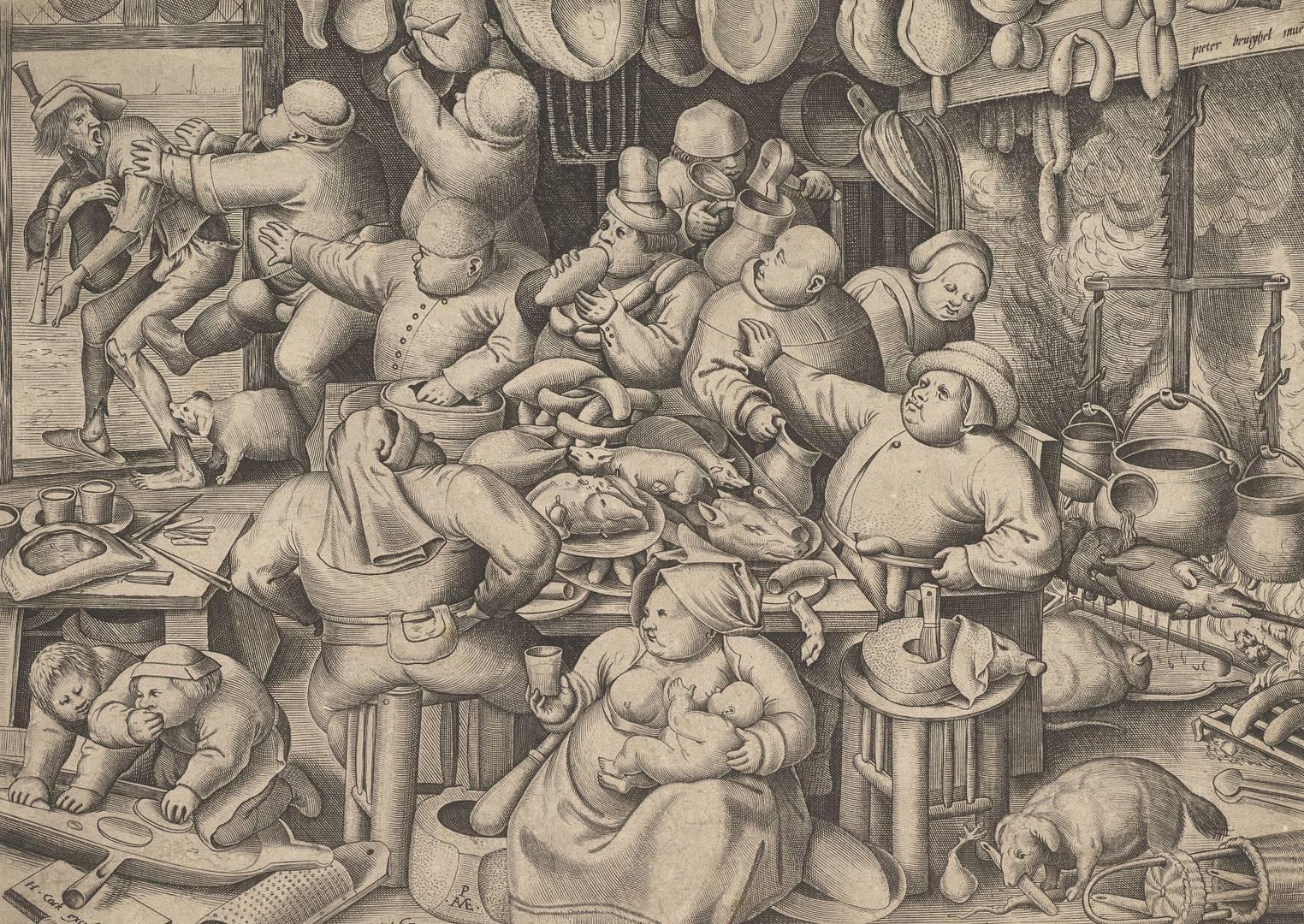 Питер Ван дер Хейден после Питера Брейгеля Старшего. Кухня тучных. 1563